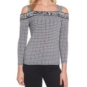 NWT Micheal Kors Cold Shoulder Houndstooth Blouse